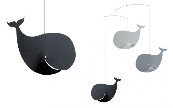 whale baby mobile Flensted grey and black for kids room