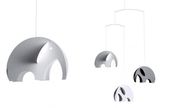 Mobile Elephant Flensted gris et blanc pour chambre enfant