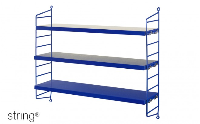 kids room shelves string pocket cobalt blue
