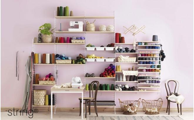 estantería de pared para habitación infantil string pocket rosa