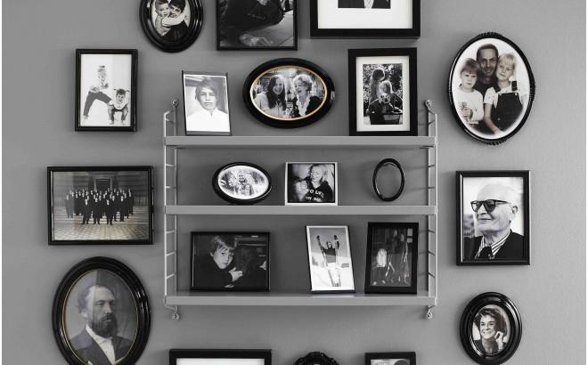 estantería de pared para habitación infantil string pocket gris