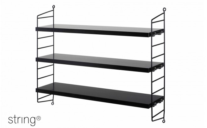 kids room shelves string pocket black