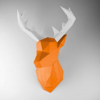 trophée mural origami cerf orange pour chambre enfant