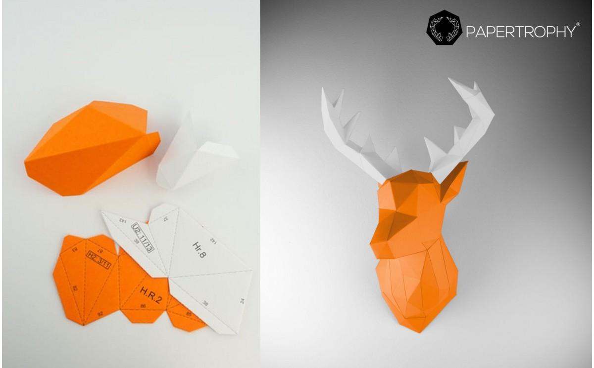 troph e mural origami de cerf orange pour la d coration de chambre enfant troph es animaux en. Black Bedroom Furniture Sets. Home Design Ideas