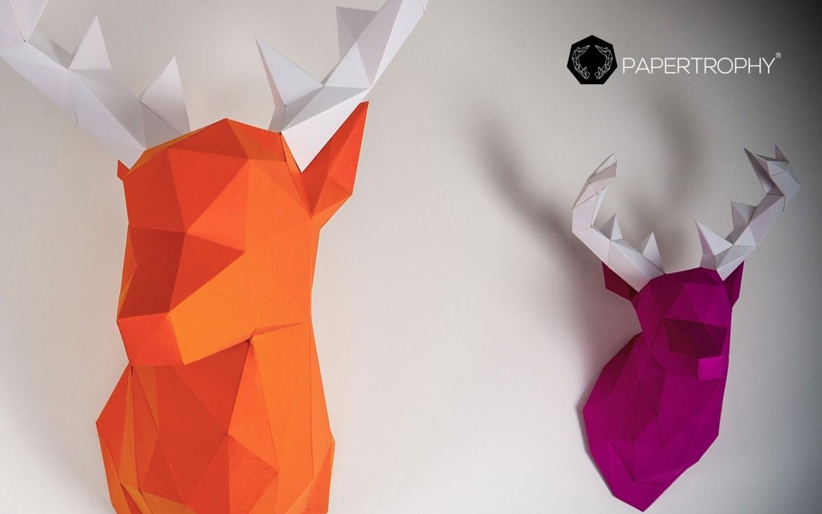 trophée mural cerf orange