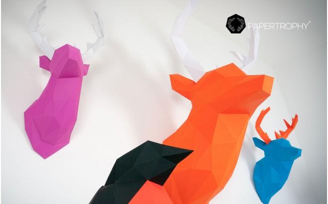 trophée mural origami cerf orange en papier