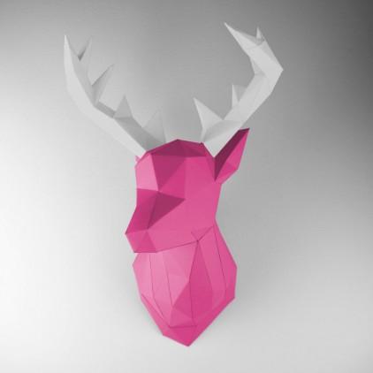 trophée mural origami cerf rose pour chambre enfant