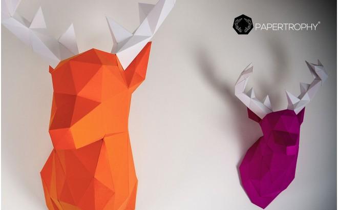 trophée mural origami animal pour chambre enfant