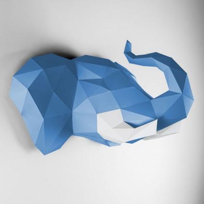 trophée mural origami elephant bleu pour chambre enfant