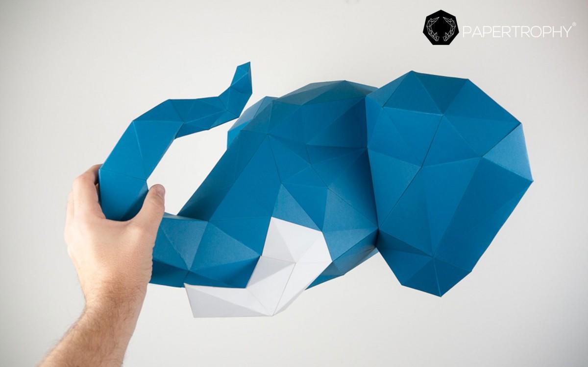wall elephant trophy blue