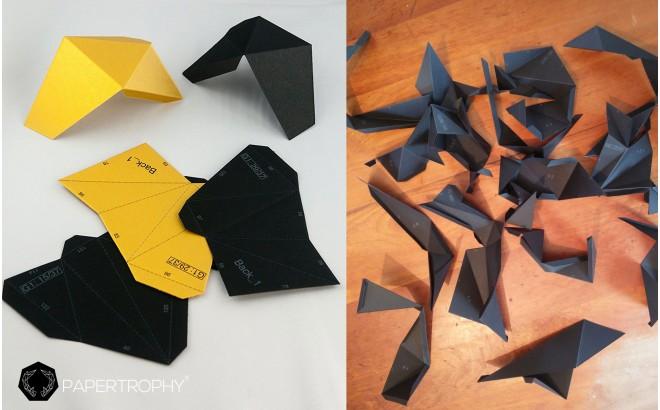 trofeo origami de pared animal para habitación infantil