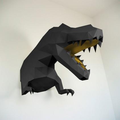 trophée mural origami dinosaure t-rex XL noir et doré pour chambre enfant