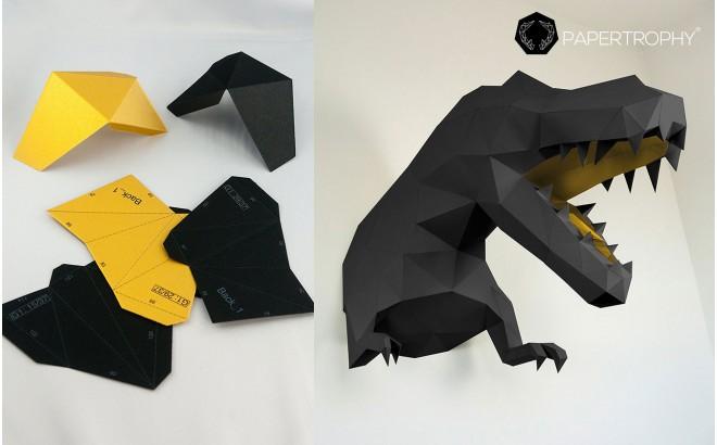 trophée mural origami t-rex XL noir et doré pour chambre enfant garçon