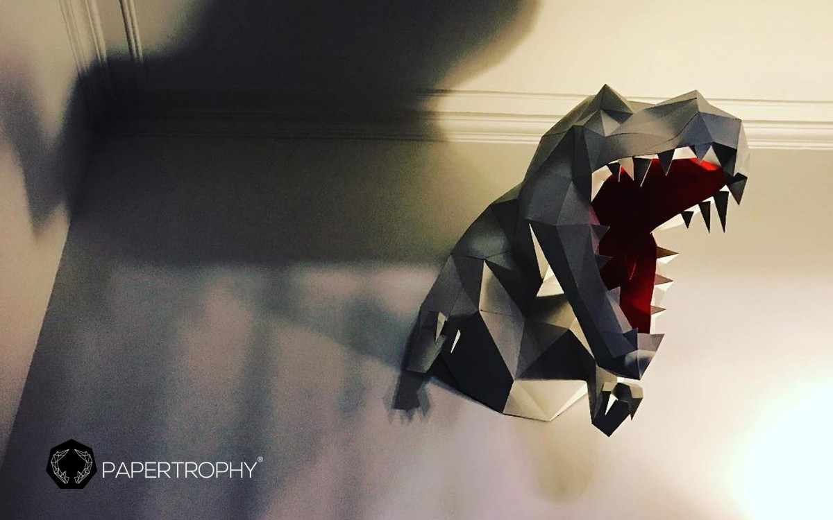 trofeo de pared dinosaurio t-rex negro XL