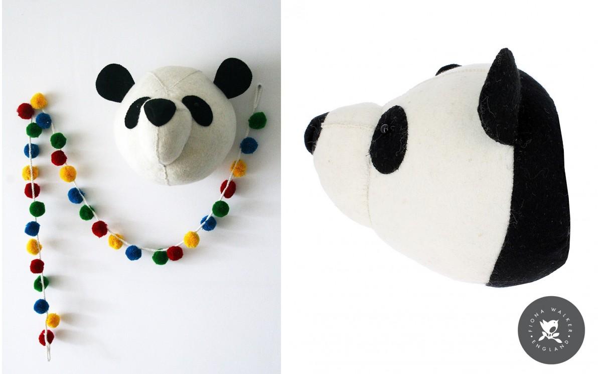 Panda Head Wall Trophy Wall Decors For Kids Room Felt