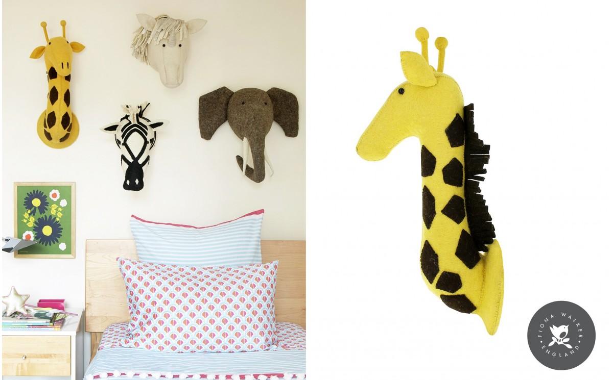 troph e t te de girafe pour d coration de chambre enfant troph es animaux en laine par fiona walker. Black Bedroom Furniture Sets. Home Design Ideas