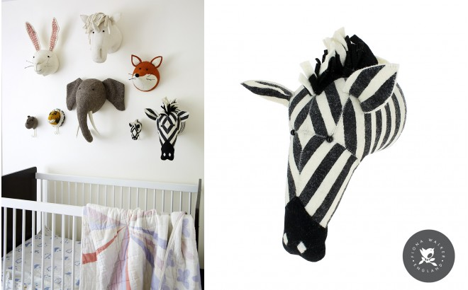 Felt Animal Heads by Fiona Walker, Zebra