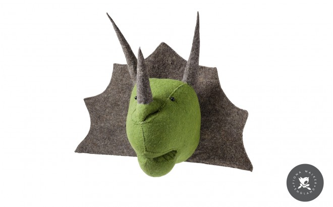 Felt Animal Heads by Fiona Walker, Dino Triceratops