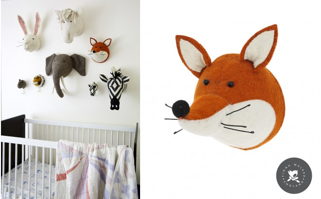 fox head wall trophy wall decors for kids room felt animal heads by fiona walker. Black Bedroom Furniture Sets. Home Design Ideas