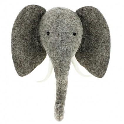 Trophee mural enfants troph es animaux papier ou peluche pour d co murale de chambres b b s et - Tete d elephant mural ...