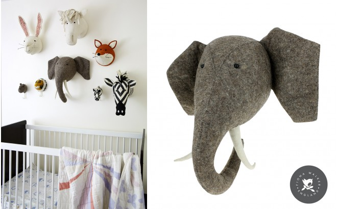 Felt Animal Heads by Fiona Walker, Elephant