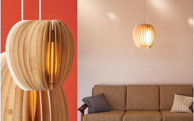 Pirum, lampara de techo de madera para cuarto bebé por schneid