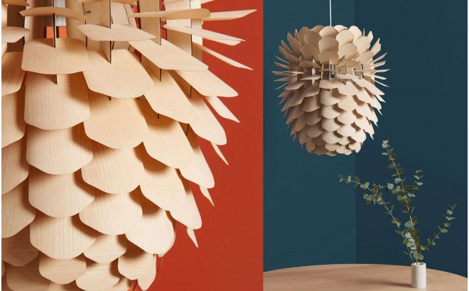Zappy, pine cone wood light lamp for kids room