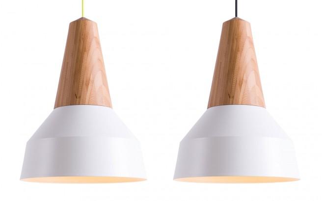 lampara infantil madera bambú y metal blanco