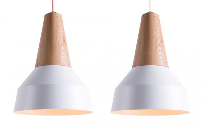 lampe eikon basic bois chêne et metal blanc pour chambre bébé