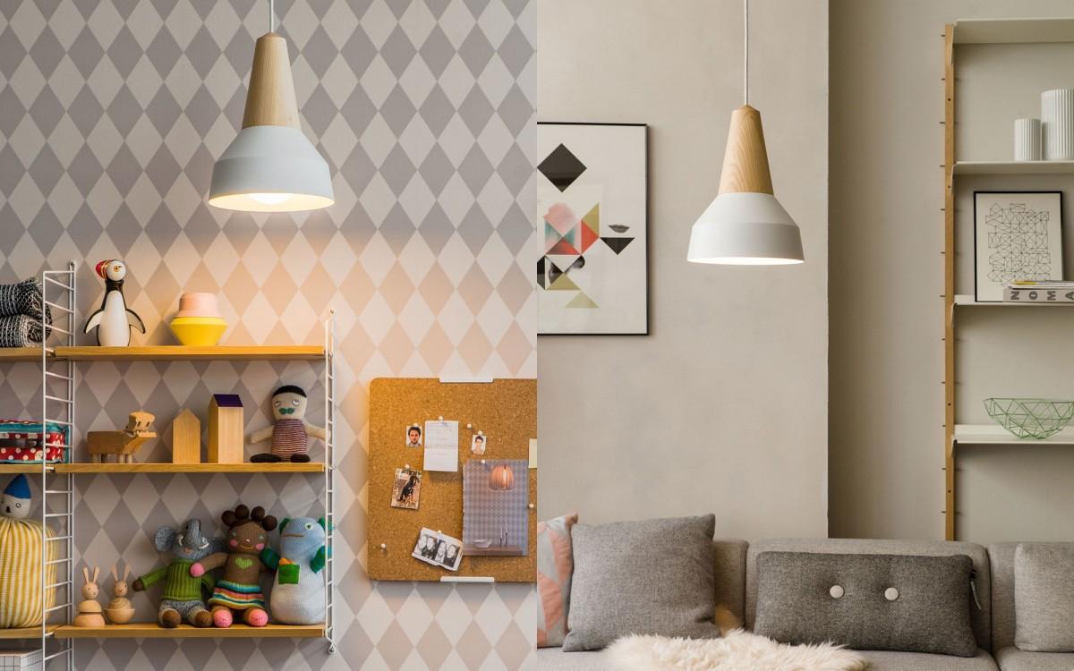 lámpara infantil de madera y metal (blanco)