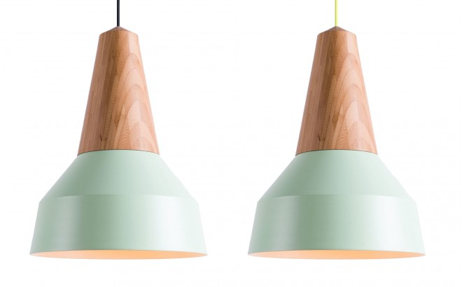 lampara infantil madera bambú y metal menta