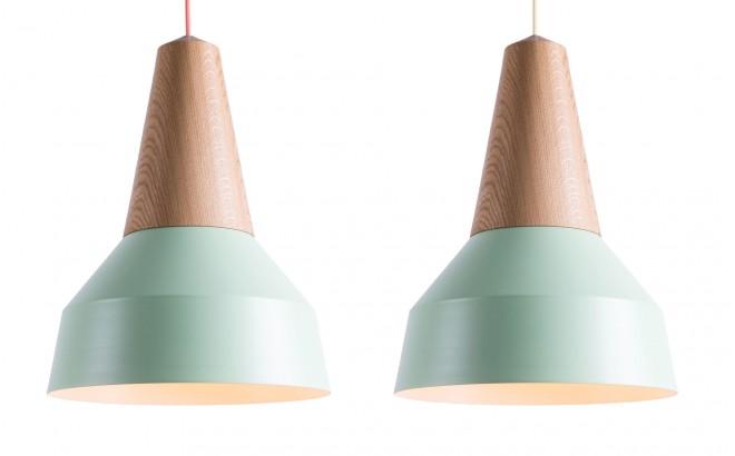 lampe eikon basic bois chêne et metal menthe pour chambre bébé