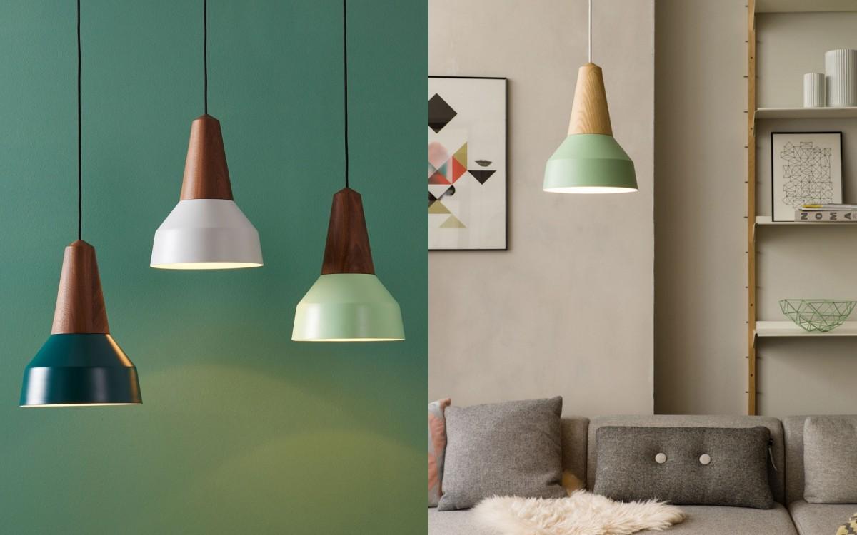 lámpara infantil de madera y metal (menta)