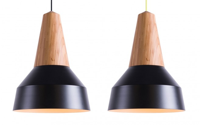 lampara infantil madera bambú y metal negro