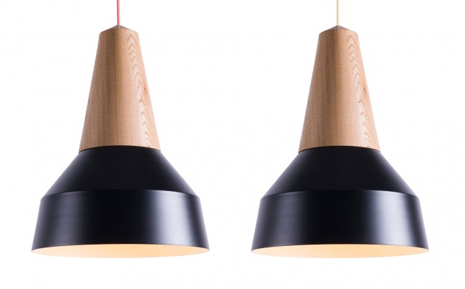 lampara infantil eikon basic madera roble y metal negro para cuarto bebé