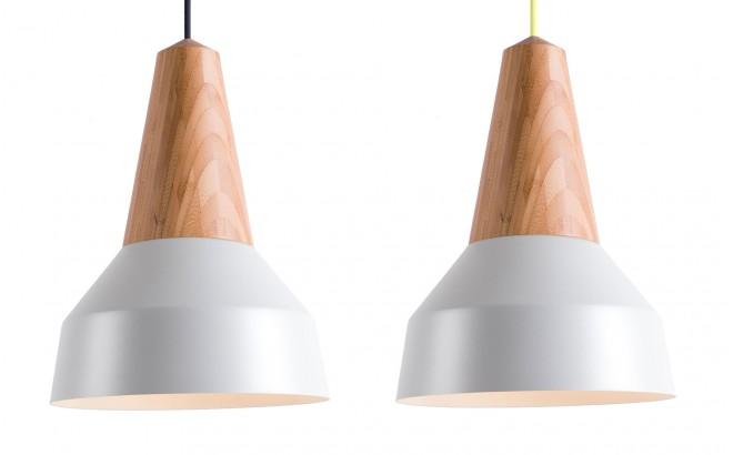 lampara infantil madera bambú y metal gris nacarado