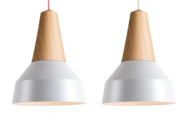 lampe eikon basic bois chêne et metal gris pour chambre bébé