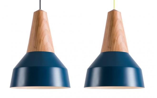 lampara infantil madera bambú y metal azul nordico