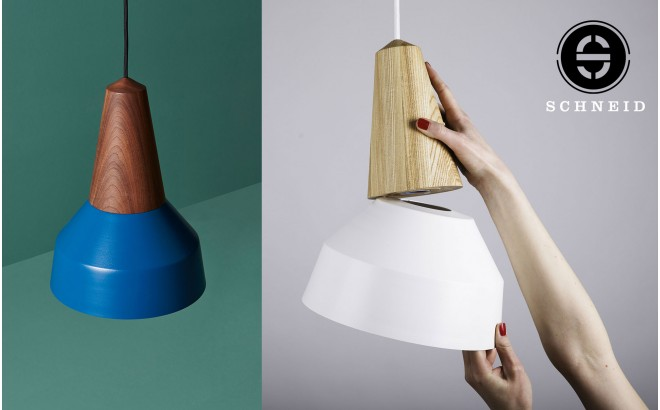 eikon basic nordic blue metal wood light lamp by schneid design