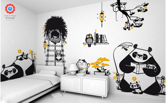 panda kids wall decals, baby nursery wall mural, wall art