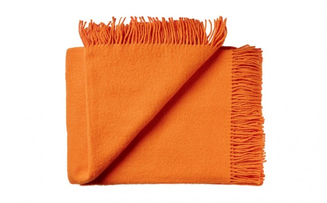 couverture enfant en laine scandinave orange