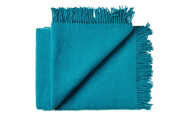 Manta infantil de lana merino Virgen ecológica azul turquesa