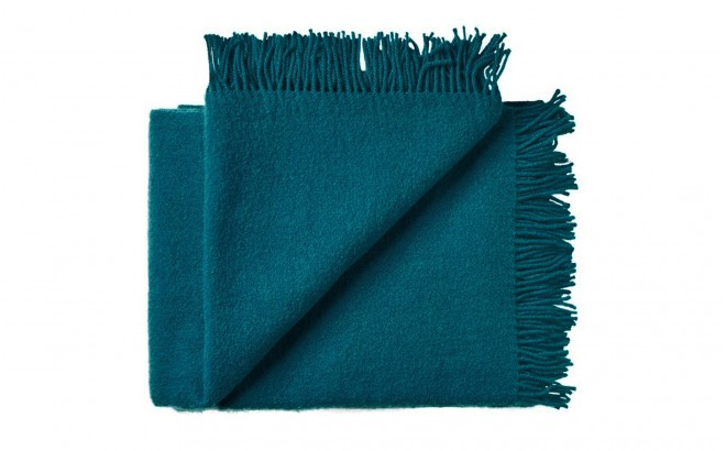 Manta infantil de lana merino Virgen ecológica azul petroleo