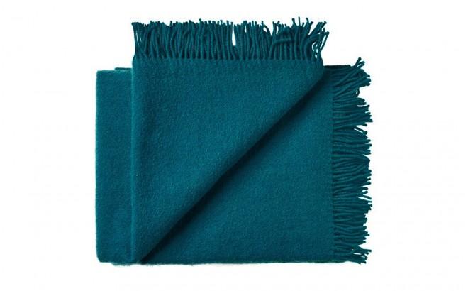couverture enfant en laine scandinave bleu petrole