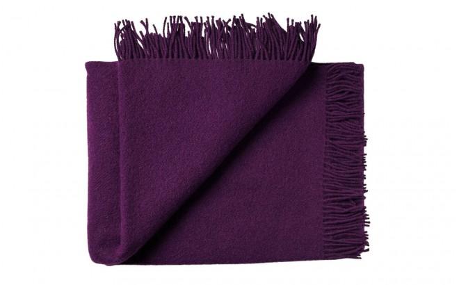 Manta infantil de lana merino Virgen ecológica violeta berenjena
