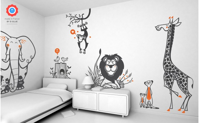 stickers enfants theme savane - girafe, éléphant, singe, lion