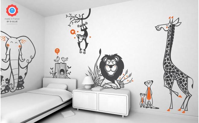 vinilos infantiles selva - jirafa, elefante, mono, leon