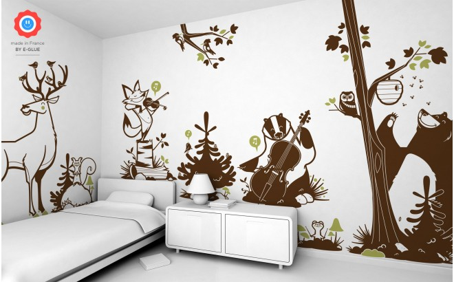forest animals kids wall decals - bear, deer, owl and fox.