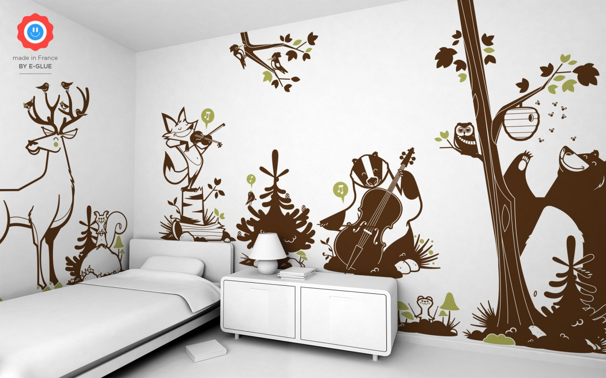 forest animals kids wall decals forest theme nursery or kids room. Black Bedroom Furniture Sets. Home Design Ideas