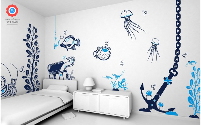 underwater world theme kids wall decals pack
